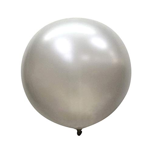 Neo LOONS 36 Inch Giant Latex Balloons, Pearl Silver Round Balloons for Birthdays Weddings Receptions Festival Party Decoration, Pack of 10 Pcs