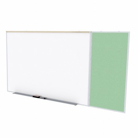 Ghent SPC410C-V-189 4 ft. x 10 ft. Style C Combination Unit - Porcelain Magnetic Whiteboard and Vinyl Fabric Tackboard - Mint
