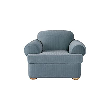 Image of SureFit Stretch Pinstripe 2-Piece - Chair Slipcover - French Blue Home and Kitchen