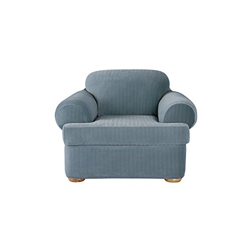 SureFit Stretch Pinstripe 2-Piece - Chair Slipcover - French Blue