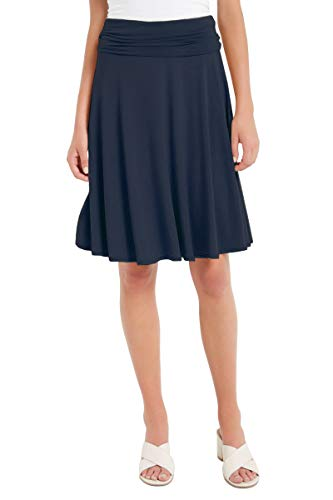 12 Ami Solid Basic Fold-Over Stretch Midi Short Skirt Navy Large