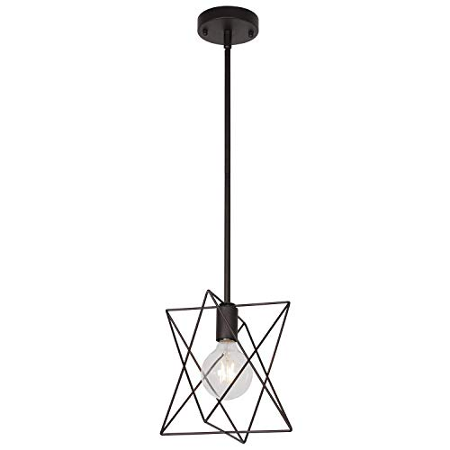 - MELUCEE One-Light Industrial Pendant Light Oil Rubbed Bronze Finish, Metal Cage Lighting Art Deco for Kitchen Dining Room Hallway