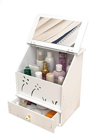 化粧品収納ボックス デスクトップ化粧品収納ボックス引き出しスキンケアジュエリーオーガナイザー多層カバーウッドプランクサイズホワイト GHMOZ (Size : S)