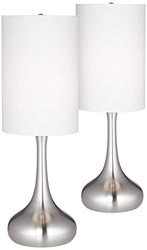 Modern Table Lamps Set of 2 Brushed Steel Droplet White Cylinder Shade for Living Room Family Bedroom Bedside Office - 360 Lighting