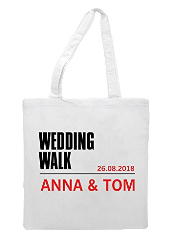 Bag Names Personalised Walk Engagement Party Shopper White Gift Wedding Tote P40qA