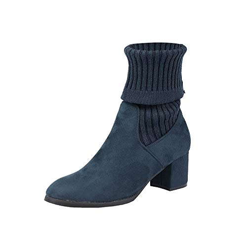 Down Shoes Booties Casual (DREAM PAIRS Women's Sweatie Dark Blue Fold Down Block Heel Ankle Booties Size 7 M US)