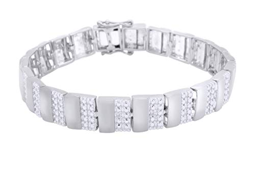 White Natural Diamond Men's Bracelet In 14kWhite Gold Over Sterling Silver (0.02 cttw) Father's Day Gift - 7.5