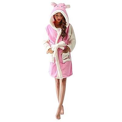 Women's Hooded Bathrobes,Cartoon Anime Animal Gown Warm Bathrobe Pajamas for Women