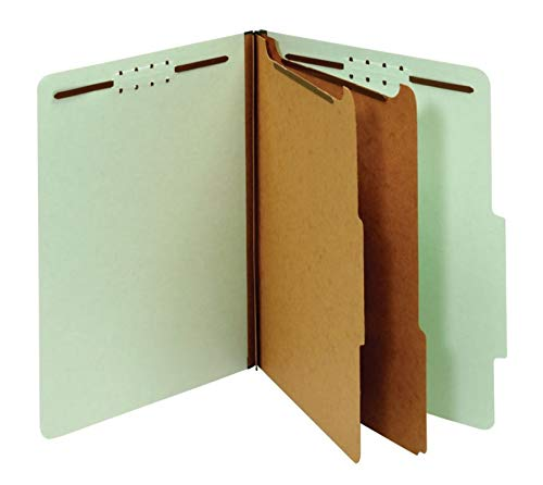 Office Depot Pressboard Classification Folders with Fasteners, Letter Size, 100% Recycled, Light Green, 10 pk, OD24076R