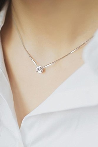 Generic Small_Deer_House_925_sterling_ silver _single_diamond_ necklace pendant _water_drill_collarbone_ chain women girl silver jewelry fashion _accessories_ silver chain