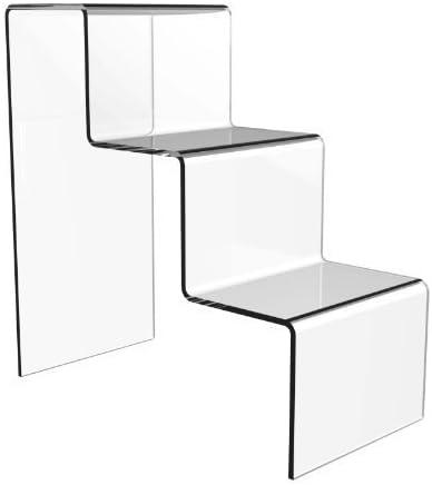 Expositor de diseño de escalera de 3 peldaños, gran tamaño, acrílico: Amazon.es: Oficina y papelería