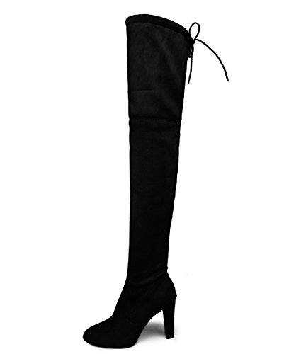 Minetom Women Sexy Elegant Casual Winter Warm Soft Thigh High Boots Ladies Over The Knee Lace Up High Block Heel Shoes Black