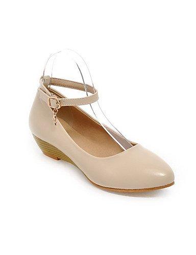 GGX/Damen Soft Material Schnalle rund geschlossen Zehen Low Heels pumps-shoes red-us5.5 / eu36 / uk3.5 / cn35