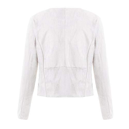 Long White Womens Office Cardigan Leather Jacket Coat Short Sleeve Holywin Suit AxaqZ5q
