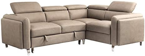 Amazon Com Furniture Of America Carder Fabric Adjustable And Pull Out Sectional In Beige Furniture Decor
