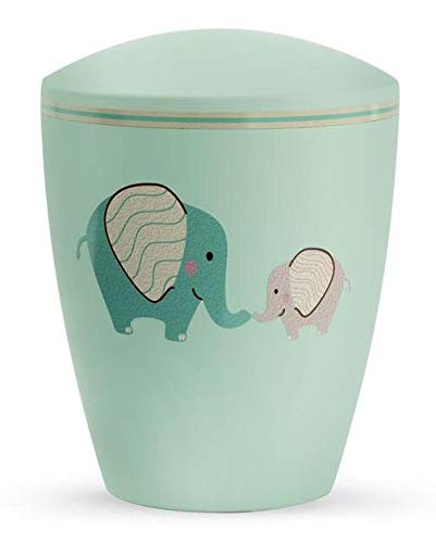 Custom Made Biodegradable Cremation Ashes Urn (Infant/Child/Boy/Girl) - Green with Illustrated Elephants