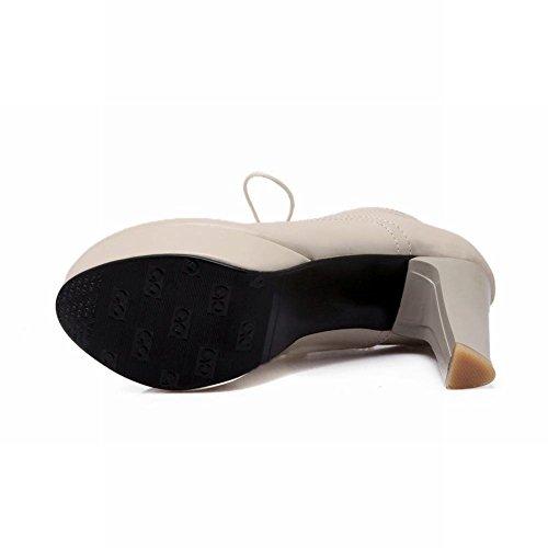 MissSaSa Damen modern Chunky high-heel Plateau runde Spitze Ankle-Pumps mit Schnürsenkel Beige