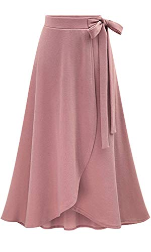 Les umes Womens Fashion Bow-Knot Flare Skirt Elastic High Waist Spring Fall Midi A Line Knit Skirts Pink L