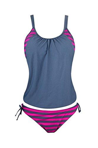 Brief tankini righe bagno top da da da donna a bikini spiaggia Grey Costume x6gPwBqw