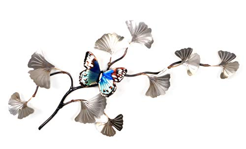 Bovano - Wall Sculpture - Butterfly on Silver Ginkgo Leaves