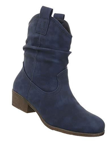 Westernstiefel Schuhe Optik Halbschaft 36 Stiefel 41 Cowboy Stiefeletten Boots Leder Stiefel Blockabsatz Blau Damen RUfWI48cW