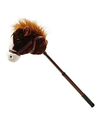 Linzy Plush Adjustable Horse Stick with Sound, Dark Brown, 36""