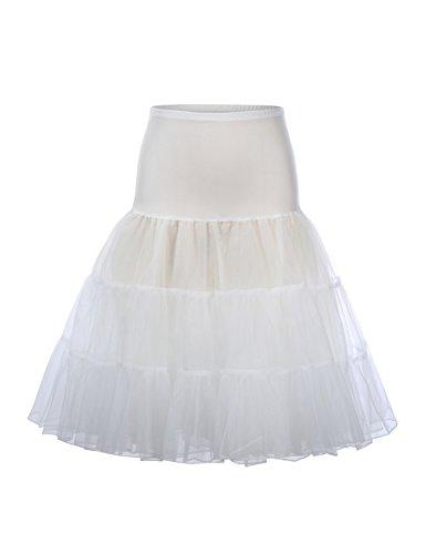 (HiQueen Women Half Slips Underskirt Pleated Flrae Vintage Short Tulle Skirts Ivory L)