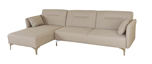 Container Direct S0097L-2PC Tantrum Classic Fabric Upholstered Sectional Sofa with Reversible Chaise, Beige