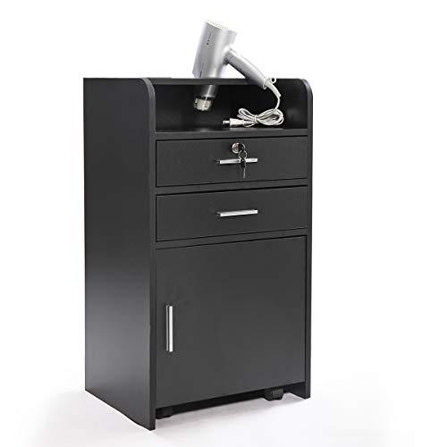 Salon Wood Cabinet Trolley with Rolling Wheels 3-layer Lockable Drawer Storage Shelf Black