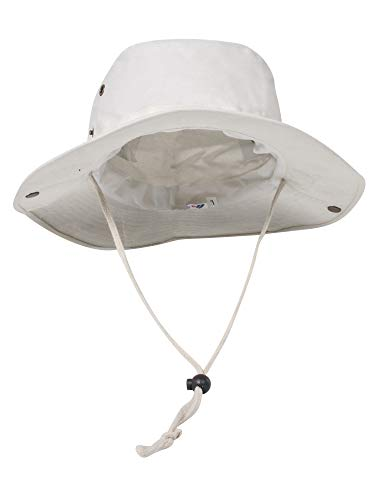 (MG Men's Brushed Cotton Twill Aussie Side Snap Chin Cord Hat - Beige - X-Large)