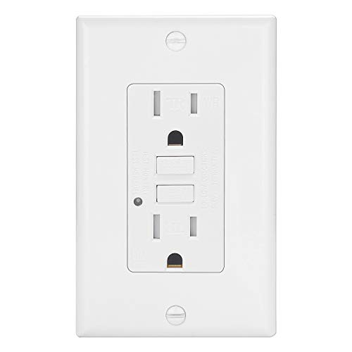 ELECTECK Weather Resistant GFCI Outlet, Ground Fault Circuit Interrupter with LED Indicator, 15-Amp Tamper Resistant Receptacle, Decorator Wall Plate Included, ETL Certified, White ()
