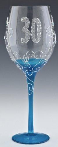 Boxer 30 30th Birthday Large Glitz Jewelled 700ml Wine Glass in Gift Box