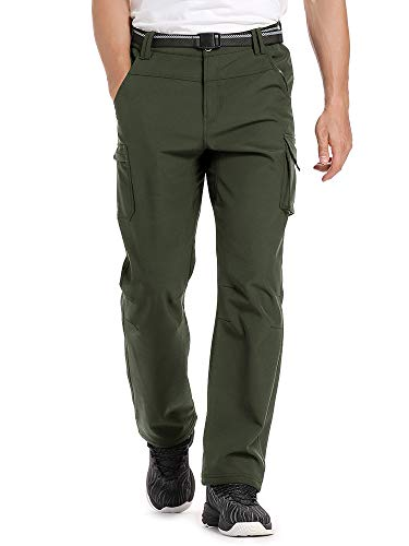 Men's Fleece-Lined Windproof Waterproof Hiking Ski Snow Pants, Soft Shell Expandable Waist Warm Insulated Trousers #6069-Army Green,32 (Best Pants To Wear Hiking)