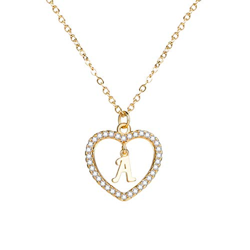 "HolyFast Charm Necklace Message Card""One In A Million""Letter A-Z Necklace Initial Necklace Heart Love Necklace CZ Cubic Zirconia"