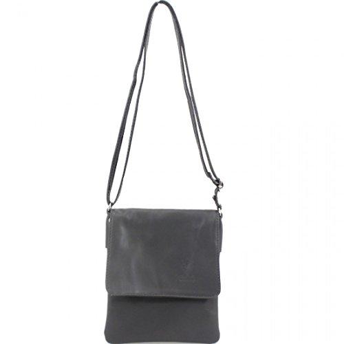 Ladies Soft Italian Vera Pele Leather Small Flap Over Cross Body Bags Women Phone Key Holder Pouch Dark Grey