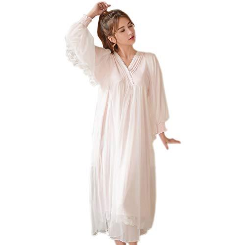 Womens Victorian Vintage Nightgown Princess Sleepwear Long Sleeve Lace Pajama Lace Nightdress Robe (Light Pink) ()