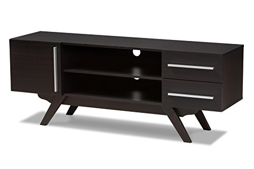 Baxton Studio Aulden Mid-Century Modern Dark Brown Finished Wood TV Stand Modern Traditional Tv Stand