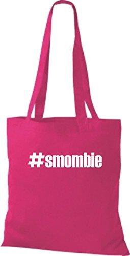 shirtstown Borsa di stoffa # smombie hashtag - rosa, 38 cm x 42 cm