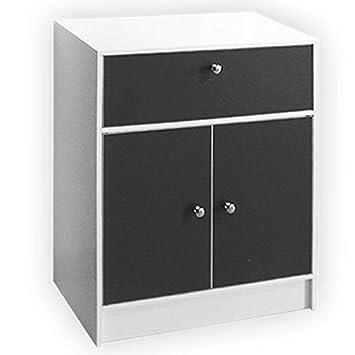 ProBache - Meuble bas de salle de bain blanc et gris commode de rangement