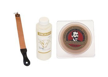 Simco Strop, Fromm Strop Dressing & Col Conk Bay Rum 2.25 Oz. Shave Soap Combo by Colonel Conk