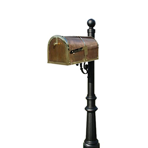 Provincial Salt - Qualarc MB-3000-POL-LP804-BL Provincial Collection Mailbox with Decorative Lewiston Post, #8 Fluted Base and #4 Black Ball Finial, Polished Brass, Ships in 2 boxes