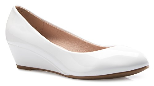 OLIVIA K Women's Close Round Toe Low Wedge Glitter Rhinestone Comfort,White Patent,7 B(M) US -