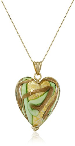 14k Yellow Gold Green Murano Glass Heart Necklace, (14k Gold Murano Glass)