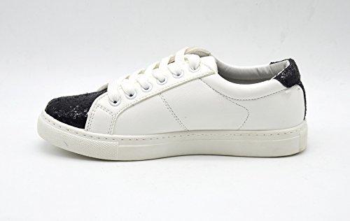 38 Blanc et Baskets Noir Arrière SHY22 Bouts Uni Cuir Simili Paillettes Sneakers avec Avant Lacets wd6PB