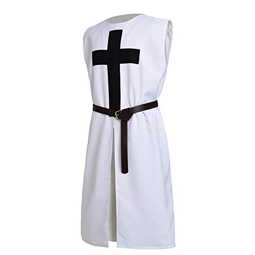 BLESSUME White Medieval Crusader Knight Tunic ()