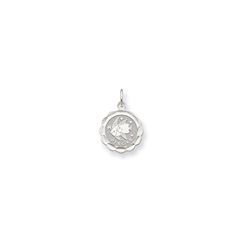 Roy Rose Jewelry 14K White Gold Satin Polished Engravable Pisces Zodiac Scalloped Disc Charm 15mm Width
