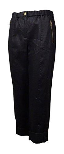 Calvin Klein Women's Modern Essential Linen Tab Cuff Pant, Black, Small by Calvin Klein