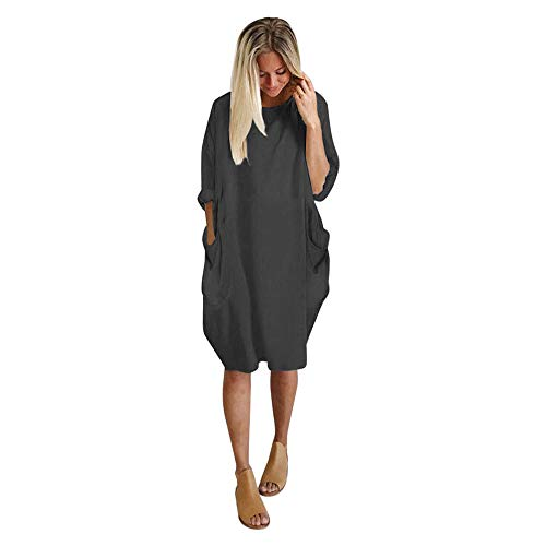 iLUGU Neutral Knee-Length Dress for Women Long Sleeve Boatneck Solid Color Pocket Long Tops Plus Size Dark Gray