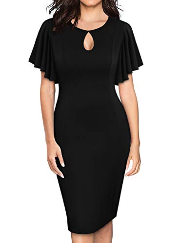 YATHON Women's Business Office Work Dress Cute Keyhole Flare Ruffles Sleeves Plus Size Sheath Bodycon Club Night Out Dresses for Party Night (XL, Black)