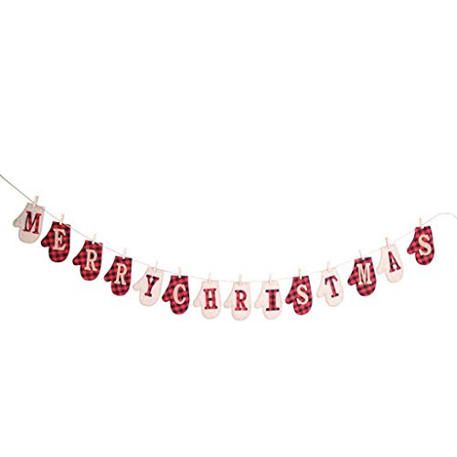 Christmas Banner Garland Lattice Gloves Stockings Shape Merry Christmas Signs 14 Pendants Cloth Hanging String Garlands Holiday Bunting Decorations for Home Door Room Indoor Fireplace Mantle (And Place Patio Fireplace)
